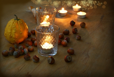 conflagrant: Autumn nightly still life with a pumpkin, hazel and conflagrant candles