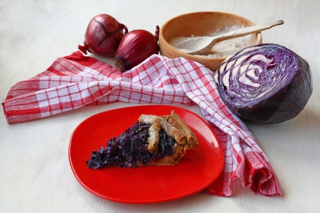 meatless: French meatless pie made from rye flour and stuffed with red cabbage and onions