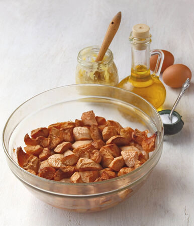 citric acid: Apples, honey, eggs, and citric acid on the kitchen counter for a home-cooked zephyr