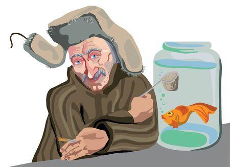 A man sells aquarium goldfish in a jar