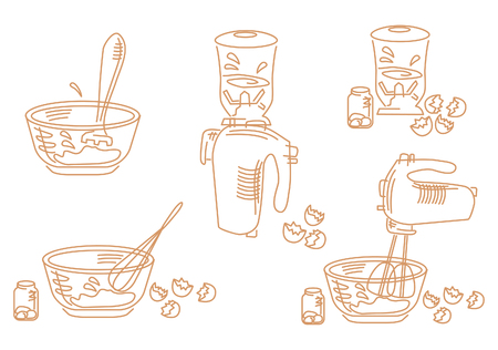 stirring: A set of cooking icons about whipping eggs Illustration