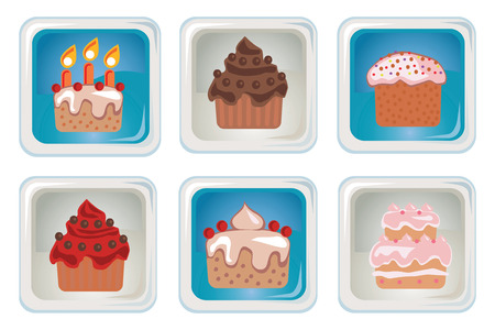 A set of gray and blue square buttons icons to topic cupcakes Vector