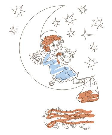 marvel: Engel sitzt auf dem Mond und essen Mandarinen, traditionelle Weihnachtsleckerbissen