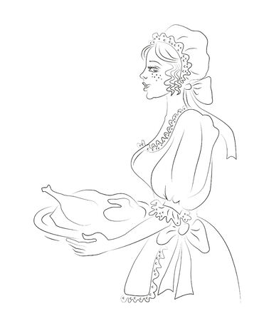 bavarian girl: Sketch line girl in the German Bavarian costume and Christmas goose on white background