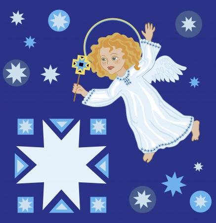 marvel: Weihnachtsgr��e mit einem Weihnachtsengel und ein Stern