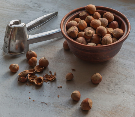 cobnut: Nutcracker tool and hazelnuts on a wooden table