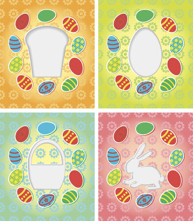 Template for happy Easter card with Easter eggs, basket, bunny, Easter cake silhouettes cut from paper Vector