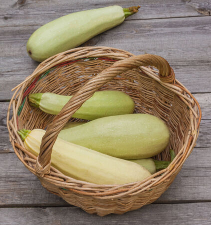 Harvest vegetable marrows in a basket on a wooden table