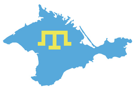 crimea: schematic map of Crimea blue and yellow symbol tamgas