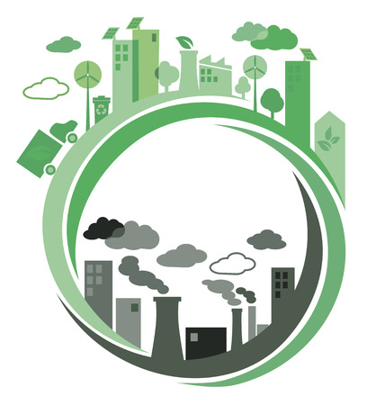Green ecology city against pollution  background concept