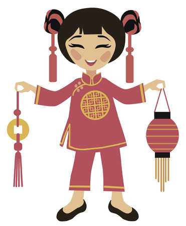 chinese people: Chinese New Year - Girl Holding Chinese Lantern to celebrate Illustration