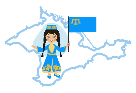 national costume: Girl in the Crimean Tatar national costume holding a flag with the symbol of Crimea
