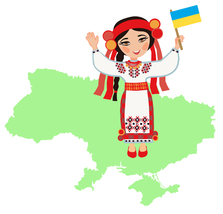 diversity of the region: Ukrainian woman with the flag of Ukraine on a background map of Ukraine