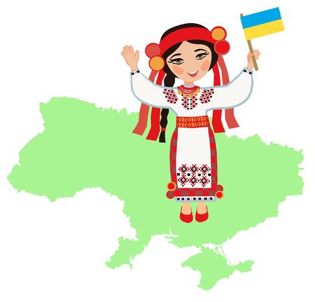 regional: Ukrainian woman with the flag of Ukraine on a background map of Ukraine