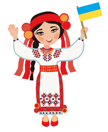 Ukrainian woman with the flag of Ukraine on a white background Vector