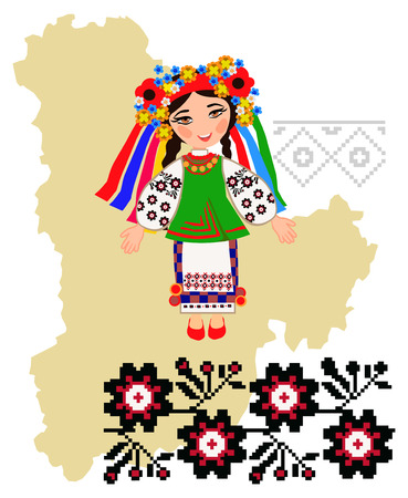 regional: Girl in folk costume of the Kiev region in the map background region and embroidery patterns
