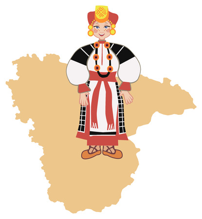 diversity of the region: Woman in traditional folk costume of the Voroneg region on the background of the map of the region