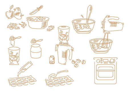 A set of cooking icons cooking dessert of apples and honey