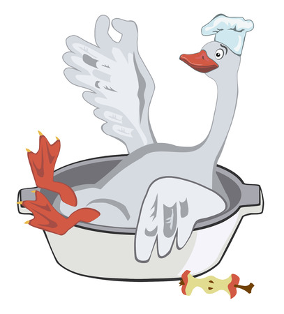 Happy Christmas goose in a chef's hat sitting in a baking dish with apple Imagens - 34153991