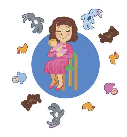 lullaby: Peque�os juguetes ropa de cama chica y cantarlas una canci�n de cuna