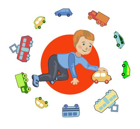 chauffeur: A boy plays in a chauffeur in kindergarten Illustration