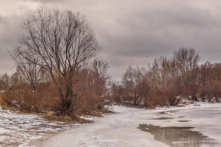 sullenly: Overcast winter day near the river covered with ice Stock Photo