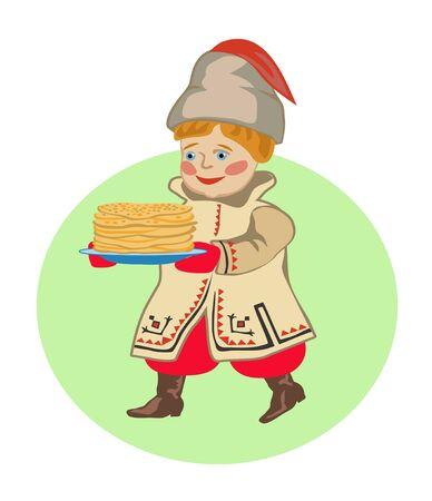 spawn: Ukrainian kid  bear a plate of pancakes holiday of Shrovetide
