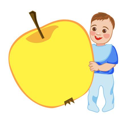 Babe happy eating vitamin apple