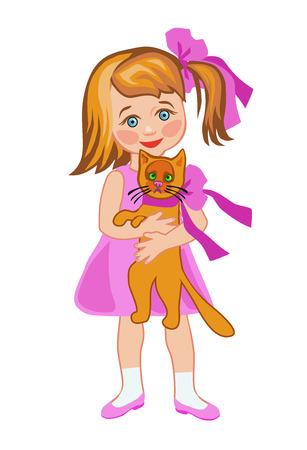 なでる: 小さな金髪ケア女の子赤をなでる猫