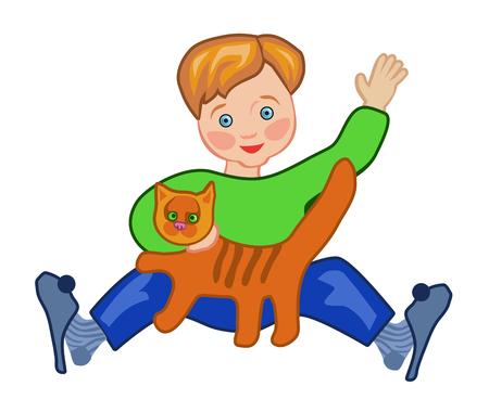 なでる: 小さな男の子赤をなでる猫