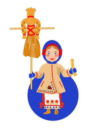 spawn: Ukrainian girl in traditional dress with a pancake and a scarecrow Shrovetide