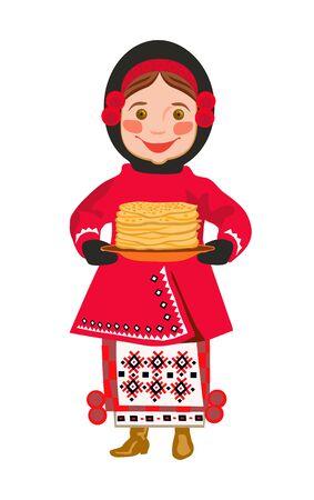 spawn: Ukrainian girl  bear a plate of pancakes holiday of Shrovetide