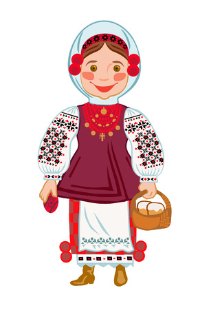 Girl in traditional Ukrainian clothes with a basket with Easter cakes and Easter eggs Vector