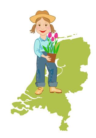 bovenaanzicht plant: Meisje in werkkleding met een pot van tulpen op een achtergrond kaart van Holland