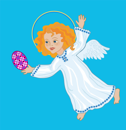 joyous: A joyous Angel with Easter eggs on a blue background Illustration