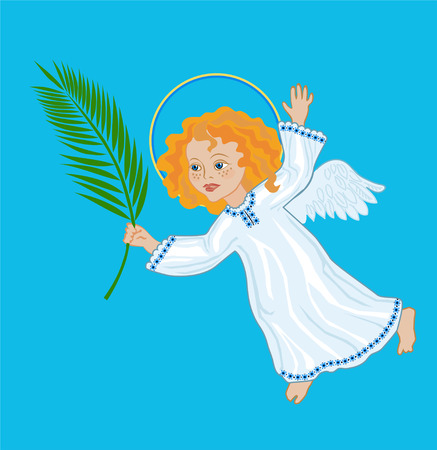 Angel with a palm branch, symbolic image of Palm Sunday, the victory over death Illustration