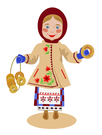bagels: The girl in the Ukrainian national clothes with a bunch of bagels