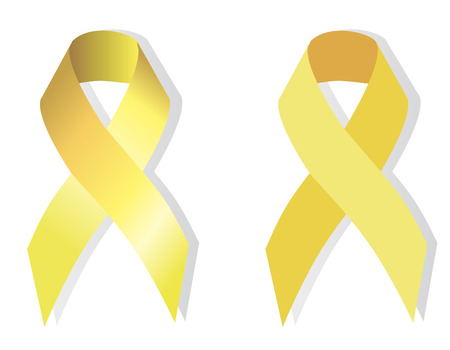 childhood cancer: Yellow (gold) ribbon symbolizing the problems of suicide, bone tumor, attention deficit hyperactivity disorder, childhood cancer