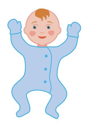 l boy: Newborn baby boy on a white background Illustration