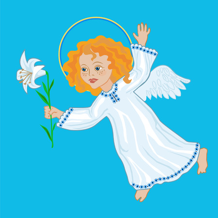 white lily: Angel with white lily, congratulations with the Annunciation