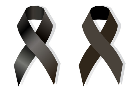 massacre: Black awareness ribbon on white background. Mourning and melanoma symbol and Virginia Tech massacre symbol, as well symbol  European Day of Remembrance for Victims of Stalinism and Nazism
