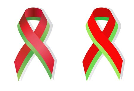 world war 2: Red-green ribbon in the national colors of Belarus in honor of the 70th anniversary of the victory of World War 2 awareness
