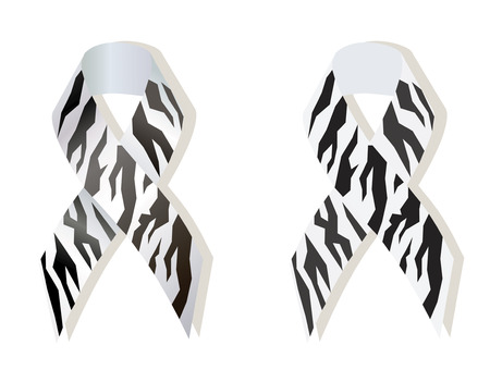 Zebra - print ribbon as symbol of rare-disease awareness, Ehlers-Danlos syndrome,  carcinoid and neuroendocrine tumor awareness Ilustração