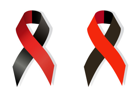 disbelief: Red and black  ribbon awareness as symbol of atheist solidarity, Survivors of Homicide Victims awareness and solidarity with the right sectors and Ukrainian Insurgent Army Illustration