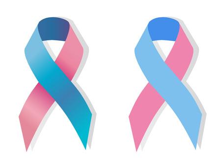핑크와 블루 리본 - 임신과 유아 손실 awereness 기호, 성기 완전성 awereness 기호, 남성 유방암 인식, 염증성 유방암 인식, 불임 인식,