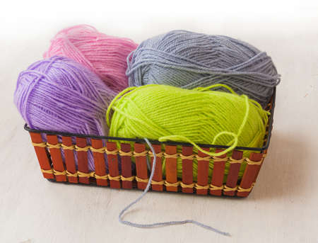 acrylic yarn: Skeins of wool for knitting in the basket