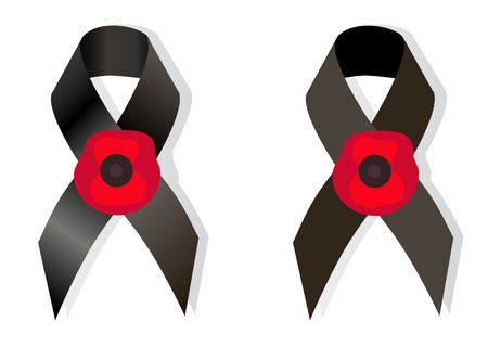 massacre: Black awareness ribbon and the flower poppy a symbol Remembrance Day, as well symbol  European Day of Remembrance for Victims of  Nazism Illustration
