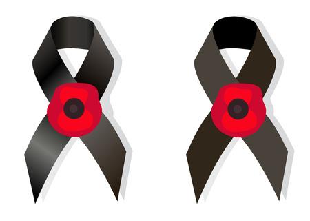 remembrance day: Nastro di consapevolezza del Nero e il fiore di papavero un simbolo Giorno della Memoria, come simbolo anche Giornata europea di commemorazione delle vittime del nazismo