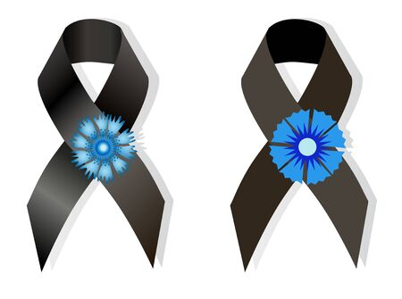social movement: Black awareness ribbon and the flower cornflower a symbol of memory of victims of the French in World War II, as well symbol  European Day of Remembrance for Victims of  Nazism Illustration