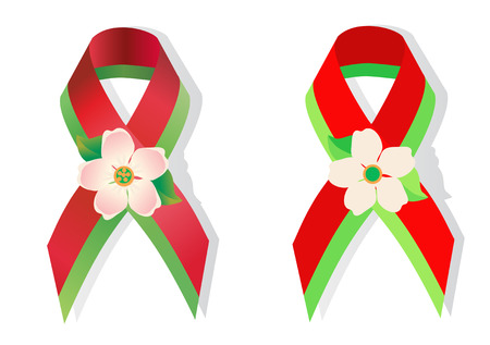 social movement: Red-green ribbon in the national colors of Belarus and apple flower  in honor of the 70th anniversary of the victory of World War 2 awareness